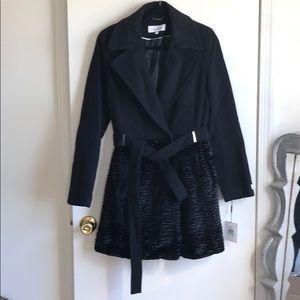 Calvin Klein wool & faux fur coat